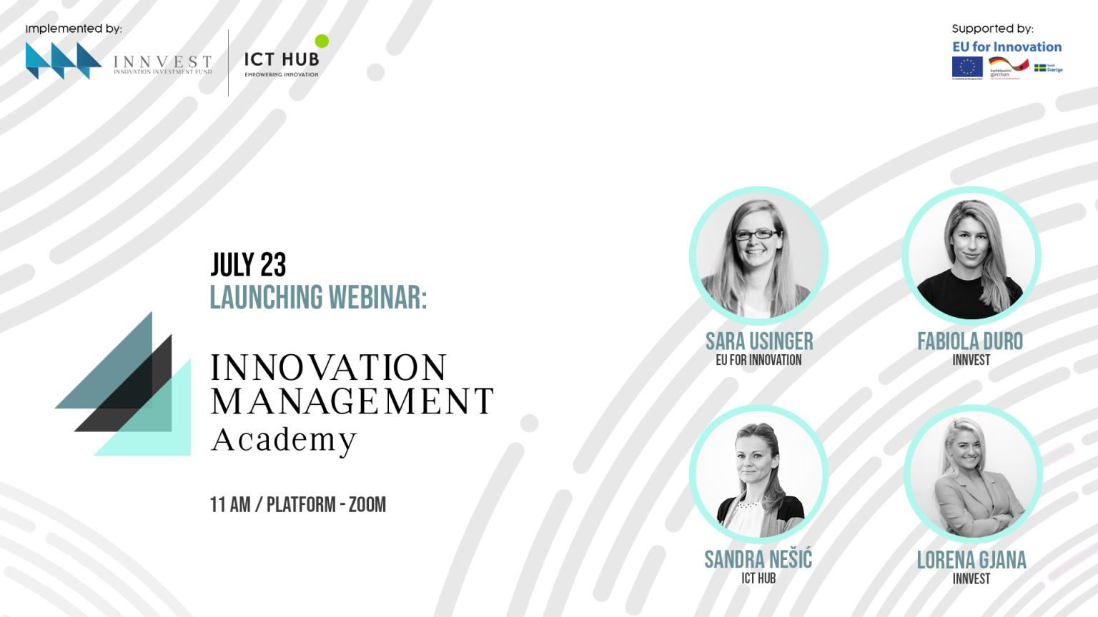 Launching Webinar : Innovation Management Academy, Innvestfund, Innovation Investment Fund